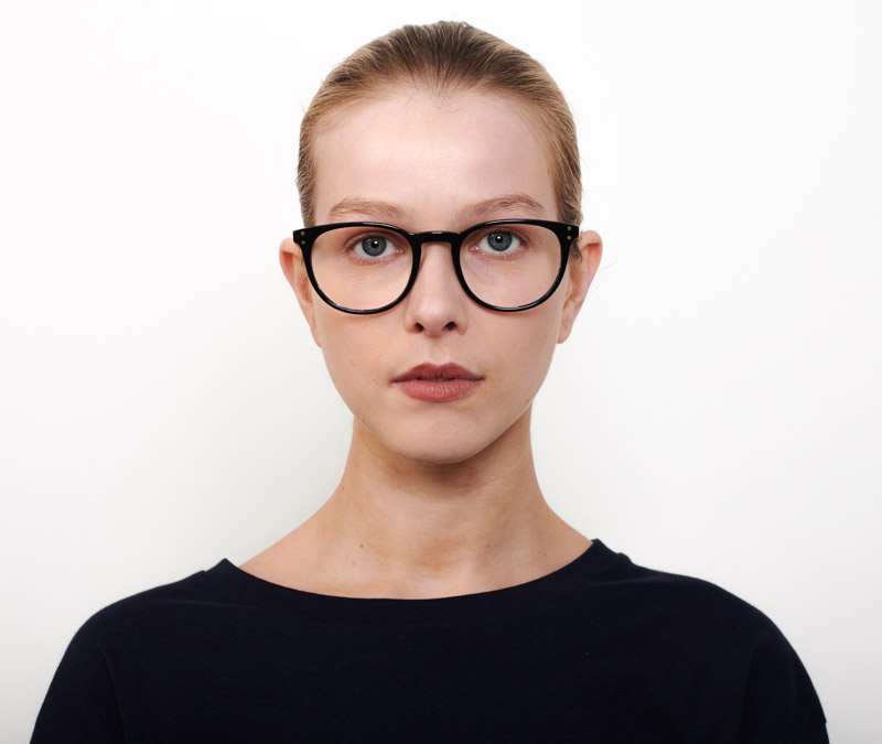 Alexis Amor Edie frames in Gloss Piano Black + Marble