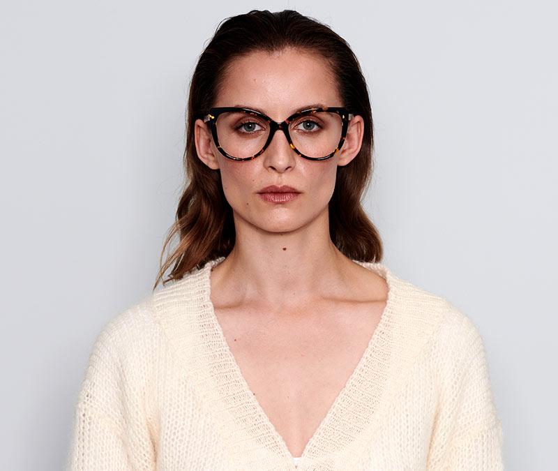 Alexis Amor Inez frames in Amber Fleck Matte Gold