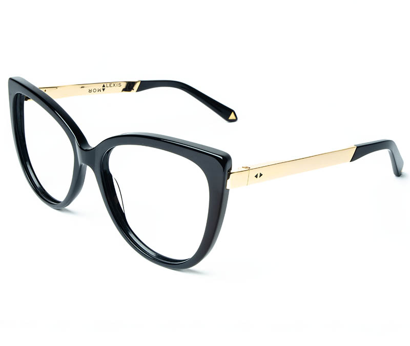 Alexis Amor Inez frames in Gloss Piano Black Mirror Gold