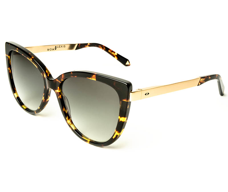 Alexis Amor Inez sunglasses in Gloss Black Amber Fleck Matte Gold