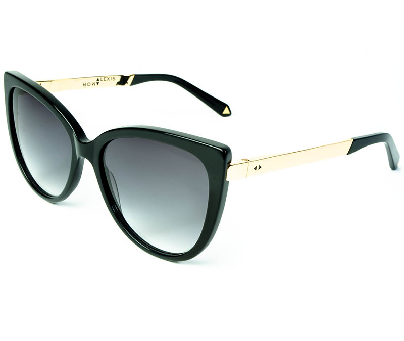 Alexis Amor Inez sunglasses in Gloss Piano Black Mirror Gold