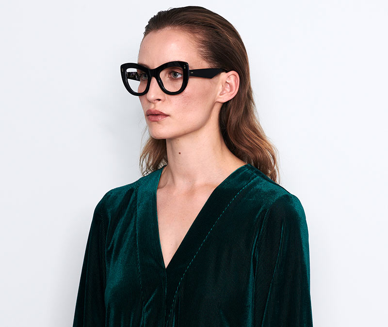 Alexis Amor Nathalie frames in Gloss Piano Black Marble