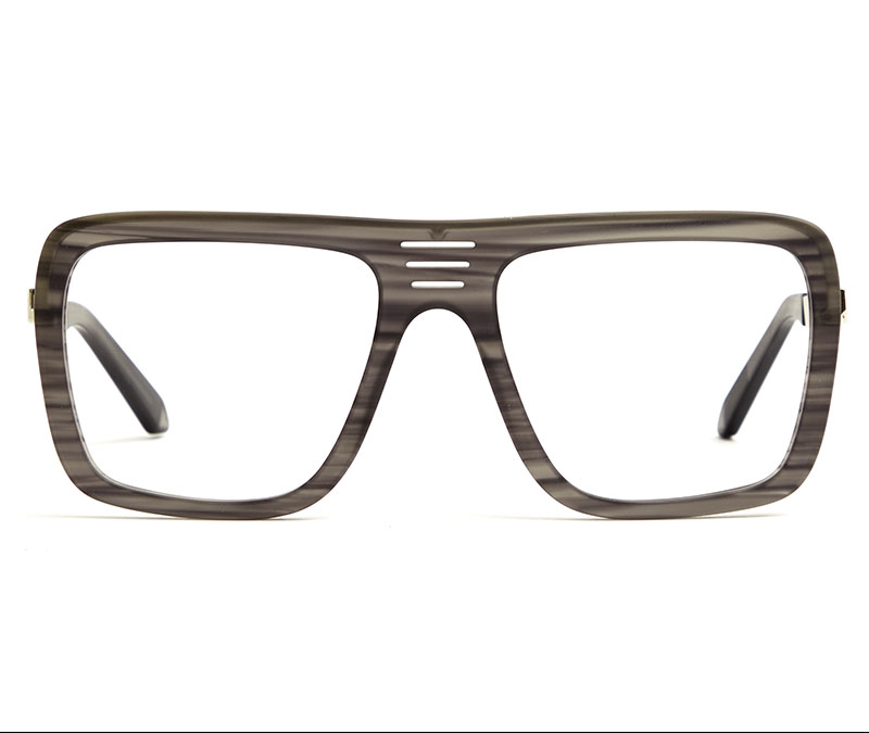 Alexis Amor Vito frames in Mirror Silver Matte Grey Stripe